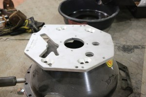 15. American Powertrain makes this adapter plate for swapping T56s to a T5 bellhousing, which works for our application perfectly.