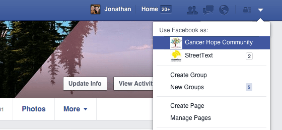A screen shot of the drop down list on the top right navigation bar on Facebook