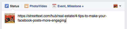Screenshot example of URL post to Facebook