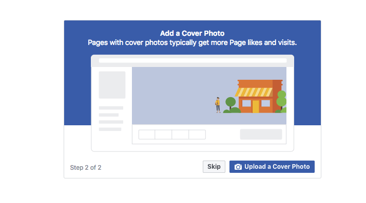Facebook page setup add a cover photo