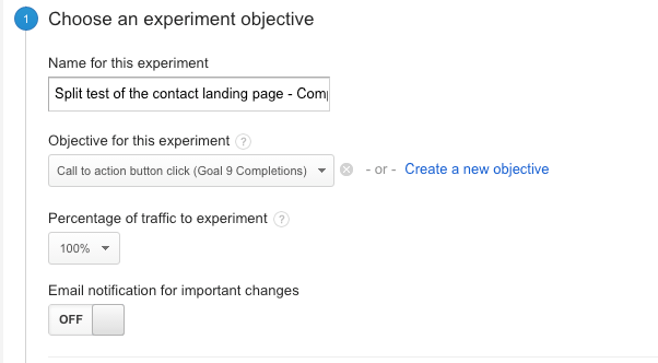 Content experiments - choose a goal