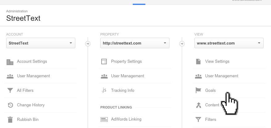Google Analytics Goals Link