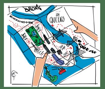 Guia dando consejo con mapa de Nueva York