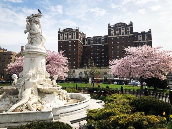 Lorelei Fountain in Joyce Kilmer Park Bronx in May.