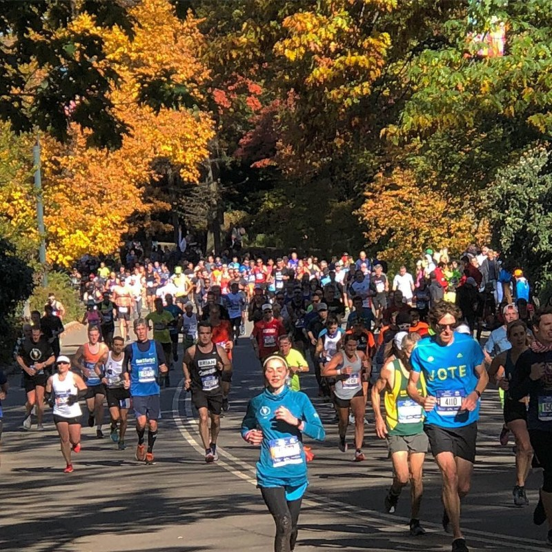 Runners in Central Park in the TCS New York City Marathon