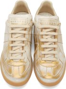 Maison Margiela Brushed Gold Leather Replica Sneakers