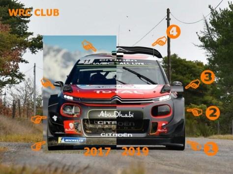 Сравнение аэродинамики Citroen C3 WRC 2017 и 2019