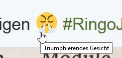"""Nicht entzifferbares Emoji, soll """"triumphierendes Gesicht"""" darstellen."""