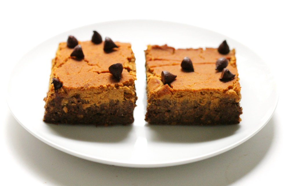 Pumpkin Peanut Butter Layer Brownies   Strength and Sunshine @RebeccaGF666 Where pumpkin, peanut, and chocolate combine! Pumpkin Peanut Butter Layer Brownies will make you rethink your definition of brownie. These gluten-free and vegan brownies are the healthiest of holiday indulgences, you won't have to stop at one! They can be dessert or breakfast!
