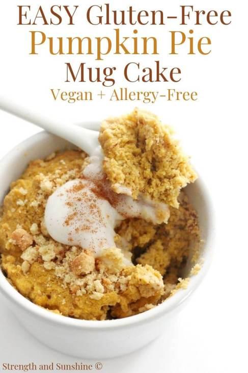gluten-free pumpkin mug cake in white ramekin with text overlay