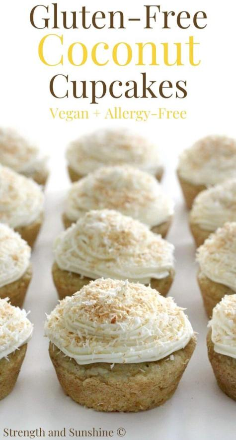 lined up gluten-free coconut cupcakes with image text above