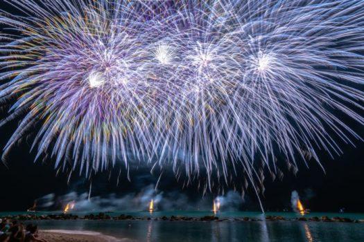 photo of fireworks near sea