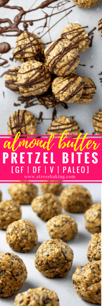 Almond Butter Pretzel Bites: A bite-sized snack that mixes the perfect combination of salty and sweet to keep hunger at bay and your energy level up! | stressbaking.com #energybites #energyballs #glutenfree #paleo #vegan #dairyfree #almondbutter
