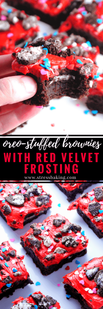 Oreo Stuffed Brownies with Red Velvet Frosting: Rich, fudgy brownies are stuffed with classic Oreos and topped with red velvet whipped cream frosting, Oreo crumbles and heart sprinkles. The perfect Valentine's Day treat!   stressbaking.com #oreo #brownies #redvelvet #valentinesday