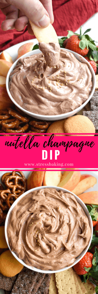 Nutella Champagne Dip: A super creamy, fluffy, whipped Nutella dip that gets a tangy upgrade from the addition of champagne. Pairs perfectly with fruit, graham crackers, pretzels and more! | stressbaking.com #holidays #boozy #dessert #champagne #nutella #newyearseve #partydip
