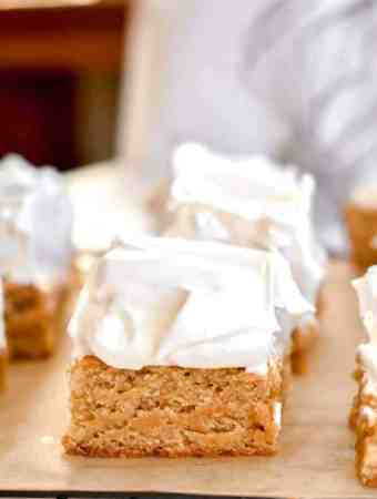 Fluffernutter bars: peanut butter blondies topped with homemade marshmallow fluff