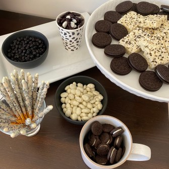 black and white snacks