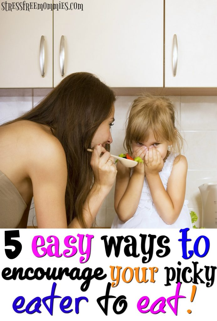 Helpful tips for moms who have a picky eater at home. Encourage your child to try new food and eat their vegetables with these easy to implement tips! Less stress more eating.
