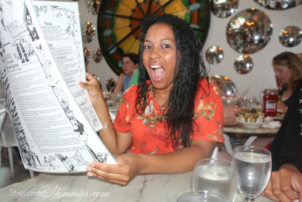 huge menu at serendipity