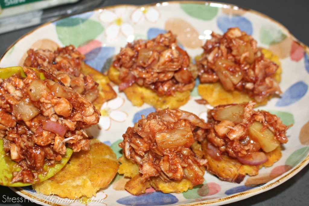How to make tostones with BBQ chicken