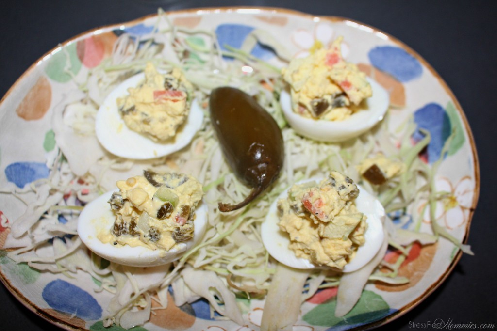 delived eggs with green apples and jalapeños