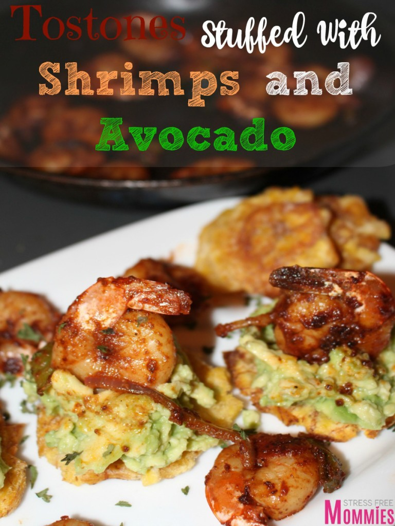 fried green plantains with shrimps and avocado