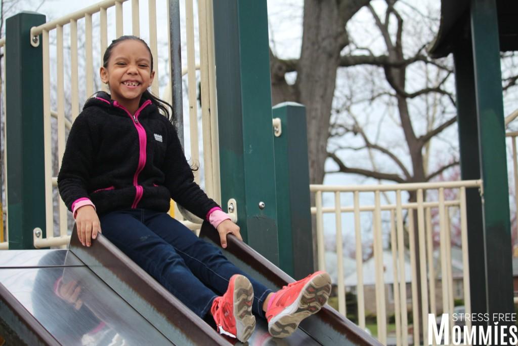 daughter on slide