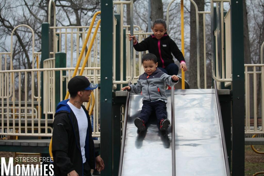 kids on slide