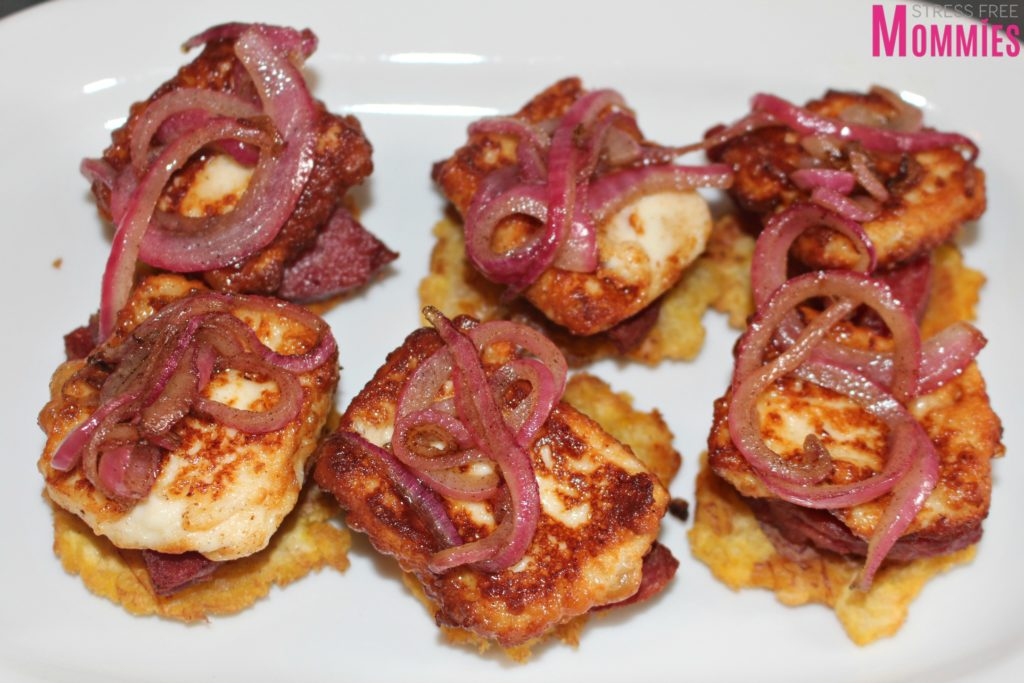 tostones with cheese and salami