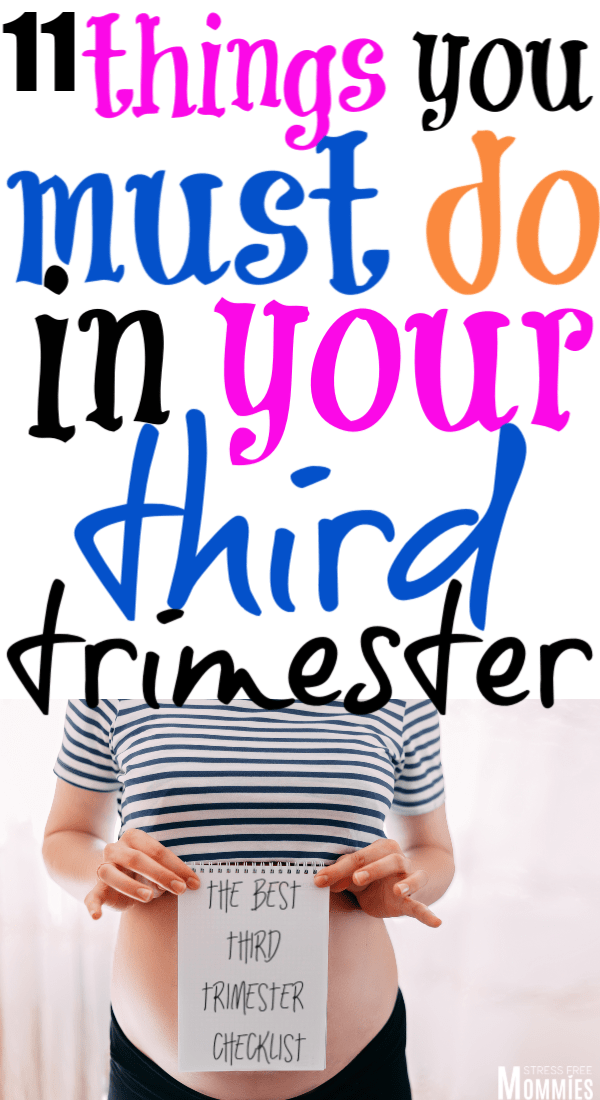 Here\'s the ultimate third trimester to do list. Check out what you\'re supposed to tackle and have ready before baby arrives! This is a fun third trimester to do list!