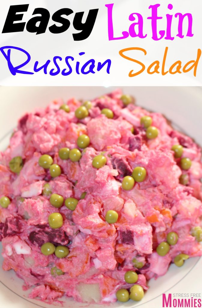 Easy Latin Russian salad- Super easy and flavorful, this Latin twist on the Russian salad will easily become a favorite! It has potatoes, eggs, sweet peas, beets and carrots! Come and check out the rest of the recipe. Pin now and make later!
