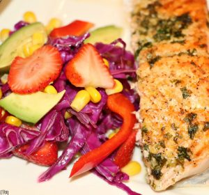 easy spring salad with baked salmon