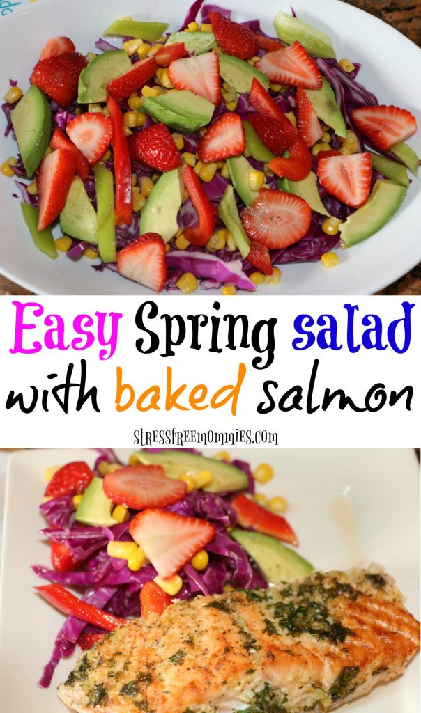 This spring salad is full of bright colors and full of flavor. Perfect salad for the spring and summer. A must try with this tasty buttered baked salmon. Bonus, resfreshing salad dressing, you must make today! Click to get recipe + pin!
