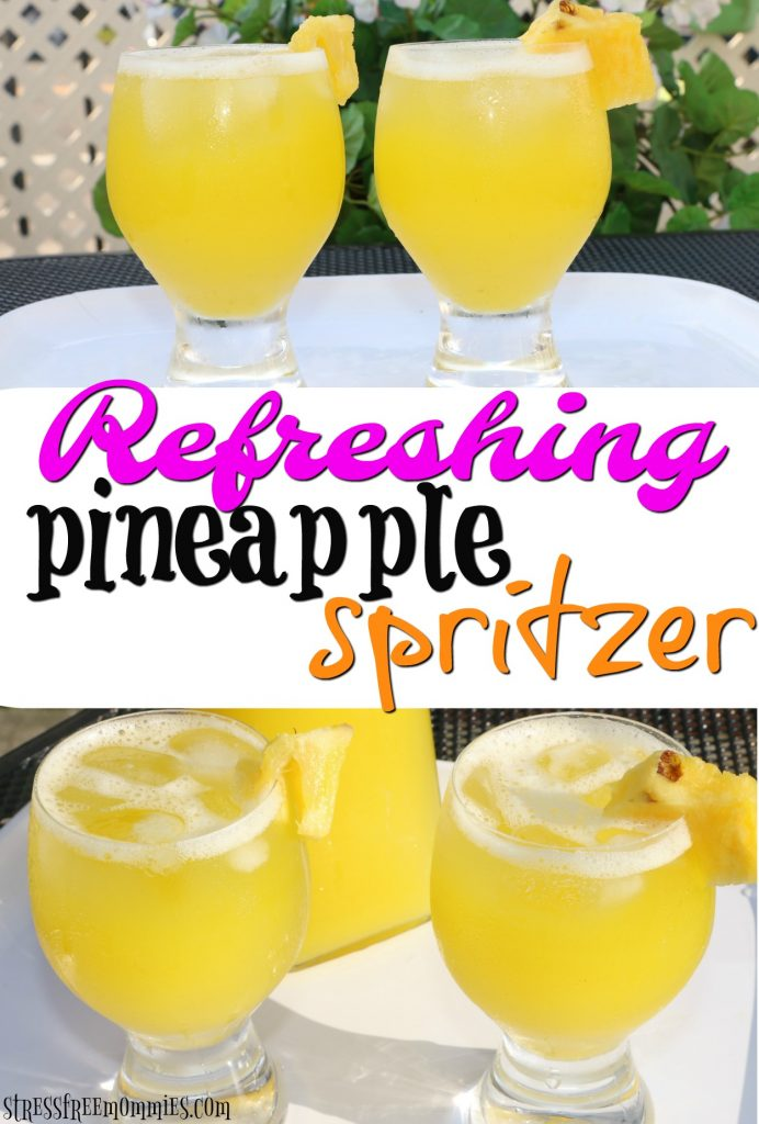 Say hello to your new go to summer drink! Fresh pineapple spritzer to refresh your thirst. It's kid friendly too and you only need two ingredients, Pin and enjoy it today :)
