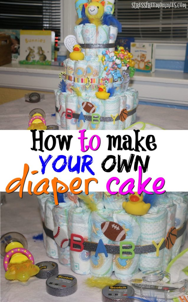 Easy guide on how to make your own diaper cake, step by step. Perfect for a baby shower or birthday present. #ad #EverydayCraftsMoments