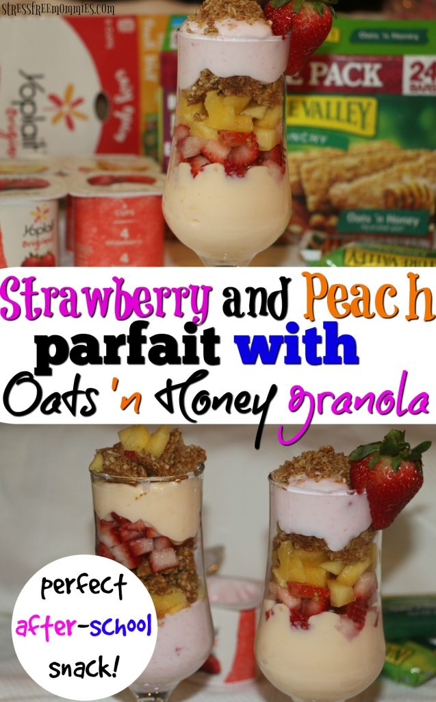 Easy parfaits of strawberry and peach with oats and honey granola recipe. A great treat for the whole family to enjoy. #EarnWithBoxTops #ad