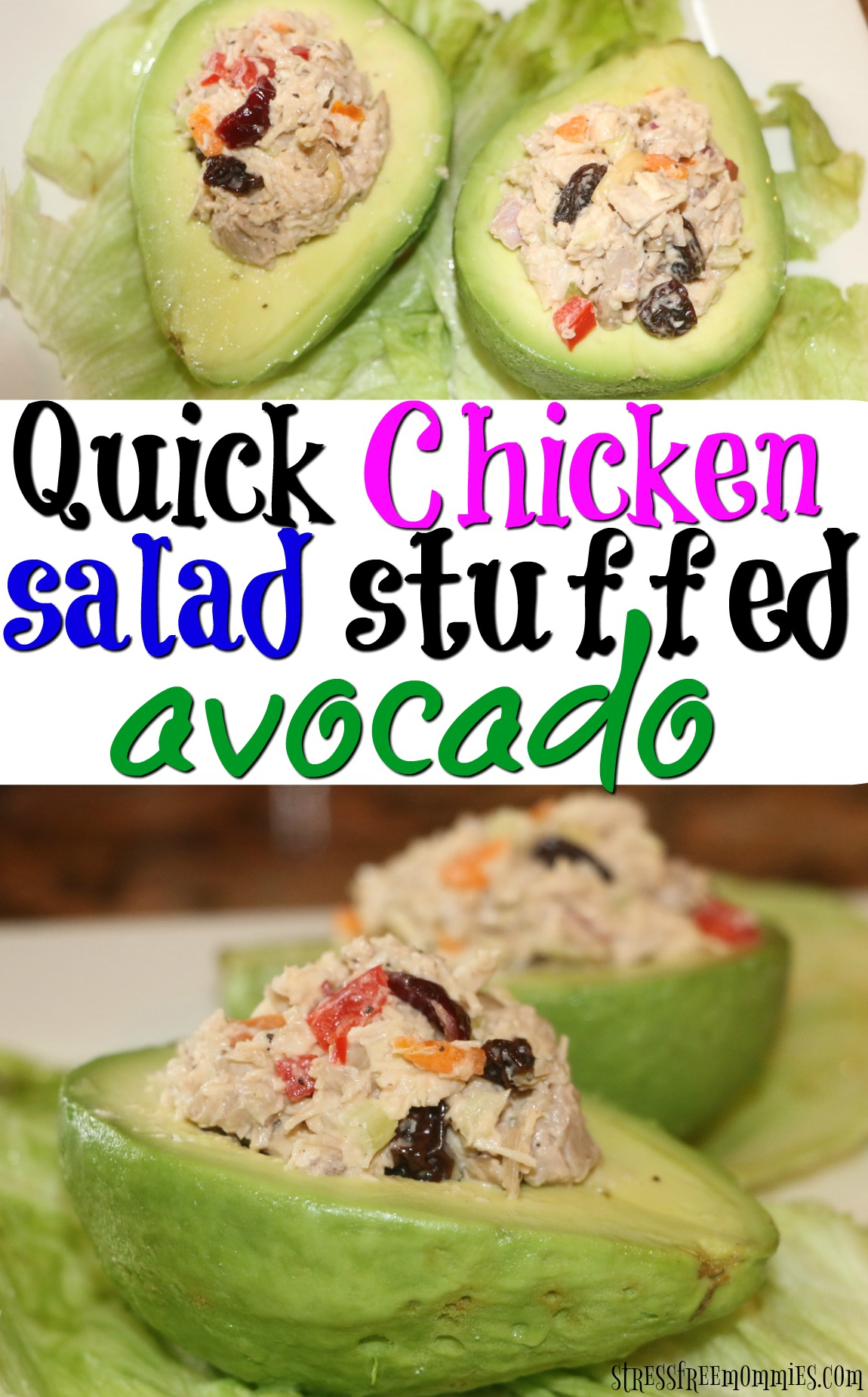 Quick and easy chicken salad stuffed avocado