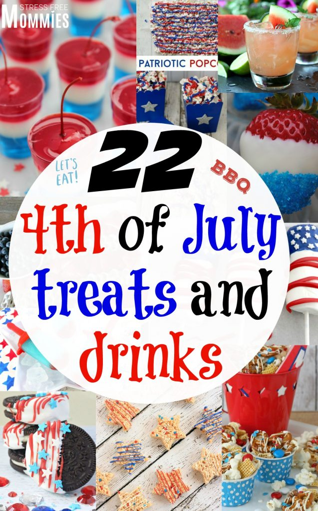 "4th of July treats and drinks, are you ready to ""wow"" your family and friends? These recipe ideas are fun, patriotic and easy to make. Check out these awesome 4th of July treats and drinks recipes."
