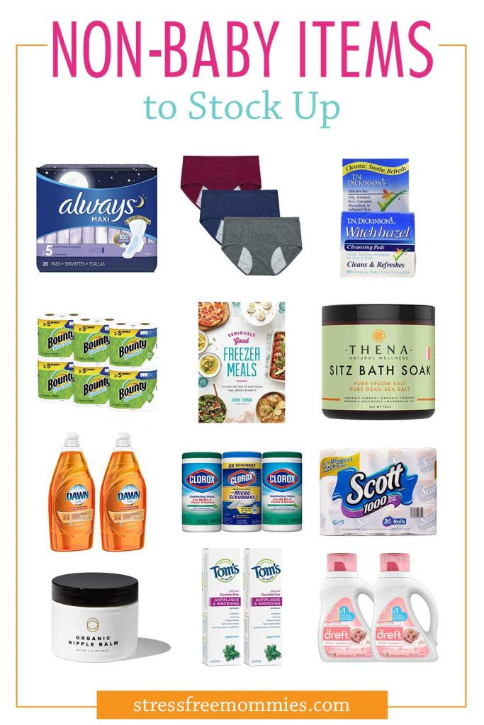 Third trimester list of non-baby items to stock up before baby arrives! Make sure you are prepared for when you get home from the hospital with newborn. Last minute pregnancy checklist!