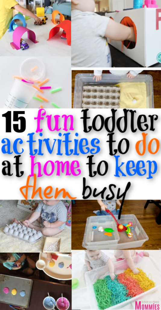 Looking for fun ways to entertain your toddler with? Check out these 15 activities that you can do from home to help keep your toddler entertain and busy!