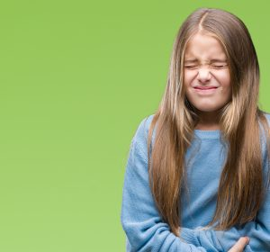 kid feeling sick to her stomach