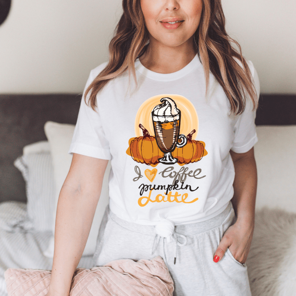 pumpkin spice latte, fall shirts, mom shirts, coffee lovers tshirts