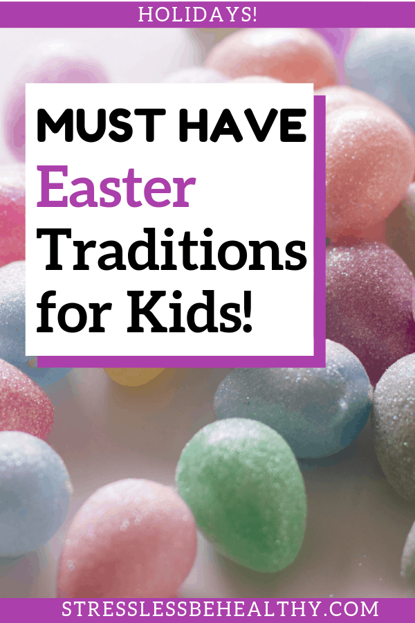 picture of sparkly easter eggs, glitter easter eggs is pastel colors, or easter colors, leads to must have easter traditions for kids!