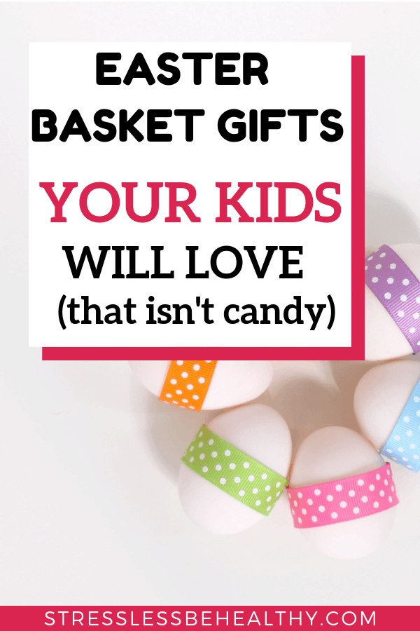 easter eggs decorated with pastel colored ribbons, leads to post with easter basket gifts your kids will love, that isn't candy