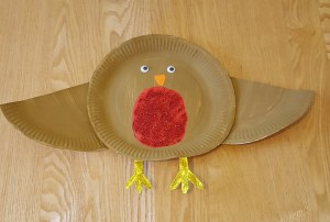 Christmas Paper Plate Crafts - Paper Plate Robin Red Breast