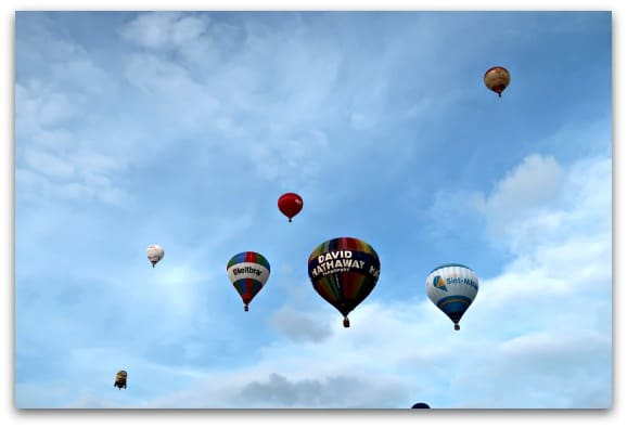 Soon the sky is filled with an array of colourful hot air balloons