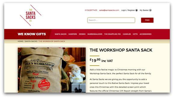 The Workshop Santa Sack for The Santa Sacks Co