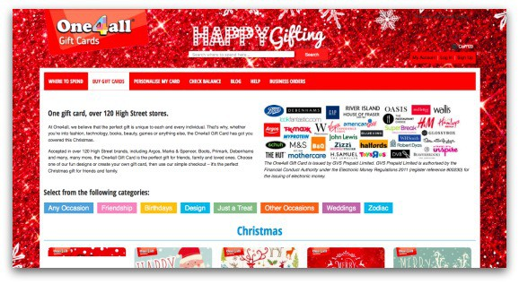 The One4all Gift Card can be used in a wide range of retailers