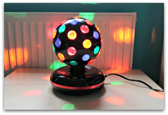 The ProSound Lighting 7-inch Disco Ball from Maplin in action