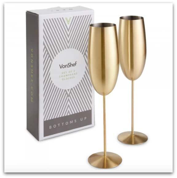 Graduation Gift Ideas VonShef Brushed Gold Champagne Flutes from Domu